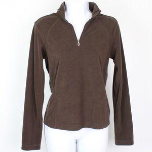 Columbia brown 1/4 zip fleece pull over top